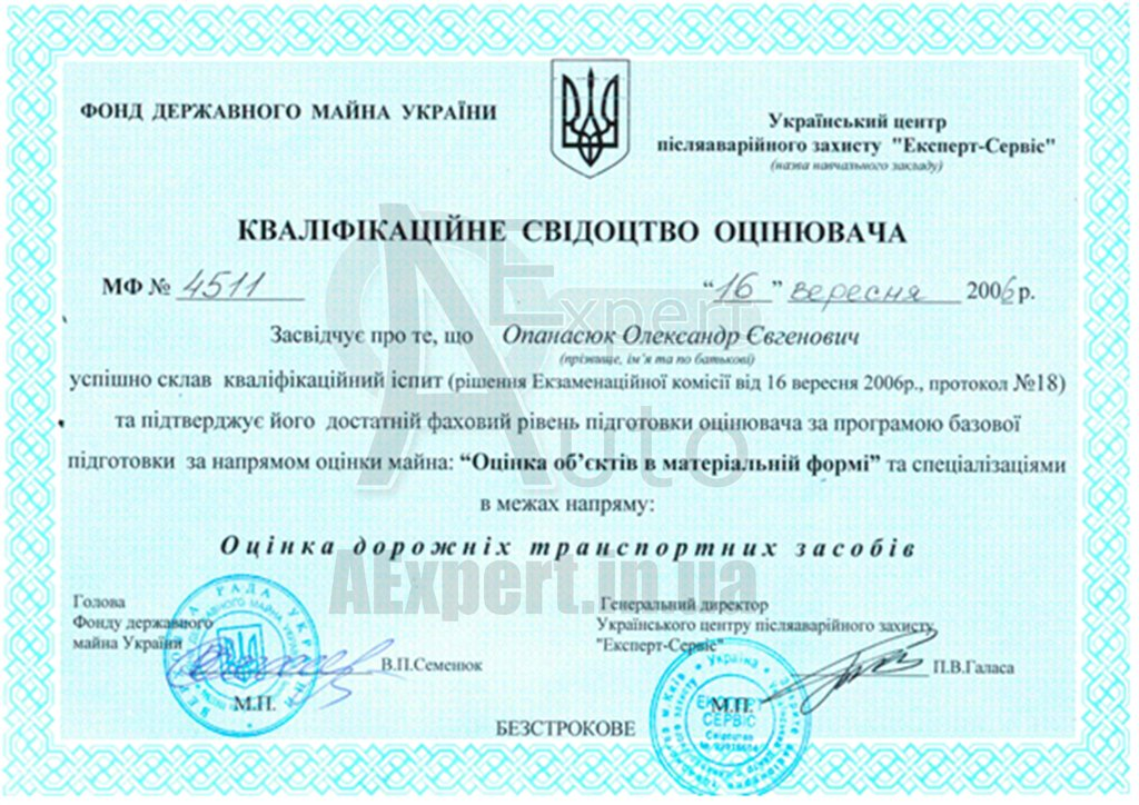 Qualification certificate of the appraiser